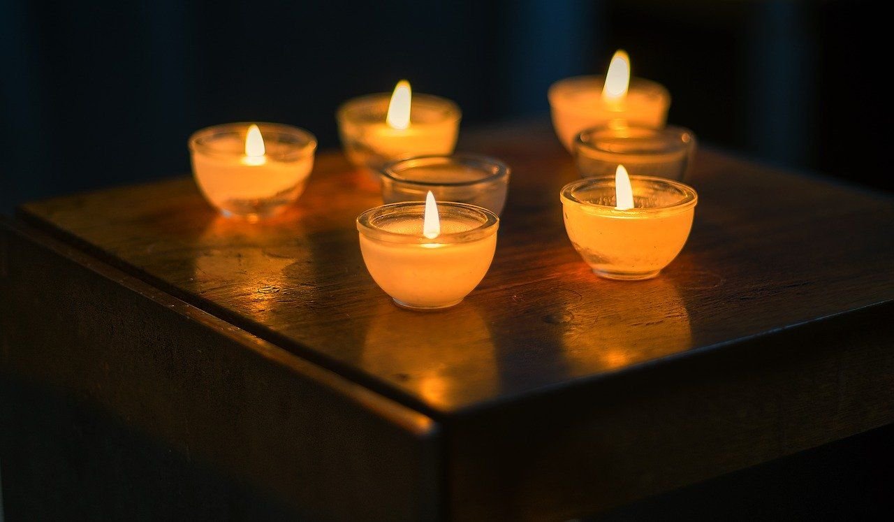 Candles in the dark during a power outage